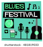 blues festival  flat style... | Shutterstock .eps vector #481819033