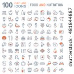 big set vector line icons meal  ... | Shutterstock .eps vector #481844887