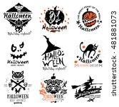 happy halloween logo and... | Shutterstock .eps vector #481881073