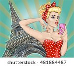 pin up sexy woman takes... | Shutterstock .eps vector #481884487