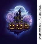 spooky halloween night  black... | Shutterstock . vector #481888033