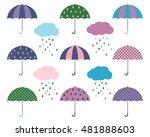 vector set of cartoon umbrellas ... | Shutterstock .eps vector #481888603