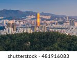 sunset of seoul city skyline ... | Shutterstock . vector #481916083