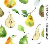 seamless pattern of ripe pear... | Shutterstock . vector #481921873