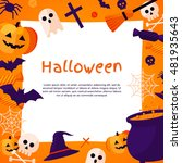 halloween background. vector... | Shutterstock .eps vector #481935643