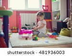little girl playing with toys...   Shutterstock . vector #481936003