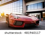 red fast sports car in modern... | Shutterstock . vector #481960117