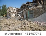 rubble in front of an old mud... | Shutterstock . vector #481967743
