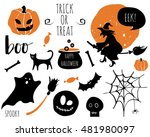 halloween set with  bats ... | Shutterstock .eps vector #481980097