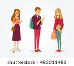 vector students with gadgets... | Shutterstock .eps vector #482011483