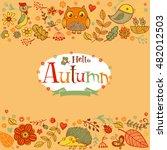 hello autumn banner in doodle... | Shutterstock .eps vector #482012503