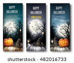 three holiday halloween banners ...   Shutterstock .eps vector #482016733
