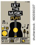 let the music play   flat style ... | Shutterstock .eps vector #482030107