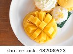 mango sticky rice  pudding and... | Shutterstock . vector #482030923