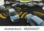 autonomous cars on a road with... | Shutterstock . vector #482040637