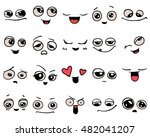 emotions. set of doodle faces.... | Shutterstock .eps vector #482041207