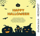 halloween concept banner with... | Shutterstock .eps vector #482046937
