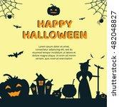 halloween concept banner with... | Shutterstock .eps vector #482048827