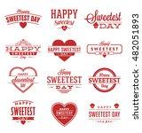 happy sweetest day typographic... | Shutterstock .eps vector #482051893