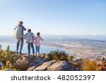 family with two kids enjoying... | Shutterstock . vector #482052397