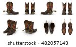 wild west leather cowboy boots... | Shutterstock . vector #482057143