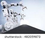 3d rendering white robotic arms ... | Shutterstock . vector #482059873