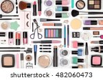 makeup cosmetics  brushes and... | Shutterstock . vector #482060473