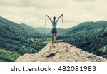 happy traveler young woman with ... | Shutterstock . vector #482081983