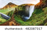 great waterfall skogafoss in... | Shutterstock . vector #482087317