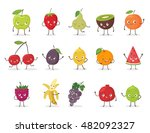 funny fruit character set.... | Shutterstock .eps vector #482092327