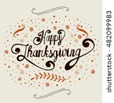 hand drawn thanksgiving vintage ... | Shutterstock .eps vector #482099983