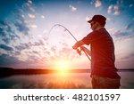 fishing rod lake fisherman men... | Shutterstock . vector #482101597