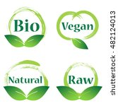 natural bio badge logo design | Shutterstock .eps vector #482124013