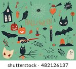 hand drawn set of spooky... | Shutterstock .eps vector #482126137