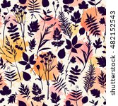 seamless pattern with plants.... | Shutterstock .eps vector #482152543