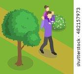 family walking isometric design ... | Shutterstock .eps vector #482157973