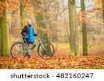 happy active woman riding bike... | Shutterstock . vector #482160247