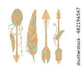vector doodle bow arrows set... | Shutterstock .eps vector #482196547
