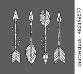 vector doodle bow arrows set... | Shutterstock .eps vector #482196577
