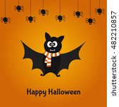 cartoon  cute bat and spiders.  ... | Shutterstock .eps vector #482210857