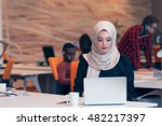 young arabic business woman... | Shutterstock . vector #482217397
