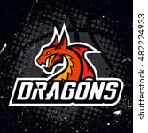 dragon sport logo basketball...