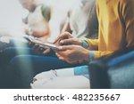 closeup young woman using... | Shutterstock . vector #482235667