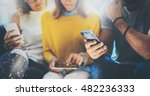 closeup group adult hipsters... | Shutterstock . vector #482236333