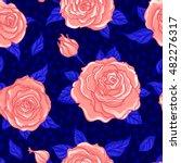 red roses over deep blue... | Shutterstock .eps vector #482276317