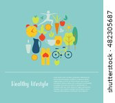 healthy life style in flat... | Shutterstock .eps vector #482305687