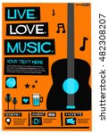 live. love. music.  flat style... | Shutterstock .eps vector #482308207