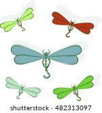 Flying Multi Colored Dragonflies