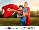 father and son playing in... | Shutterstock . vector #482347903