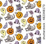 seamless pattern for halloween. ... | Shutterstock .eps vector #482348173